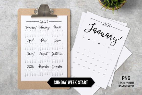 Calendar 2021 Sunday Start A4 (Graphic) By Zoollgraphics-Calendar 2021 Sat Thru Sunday