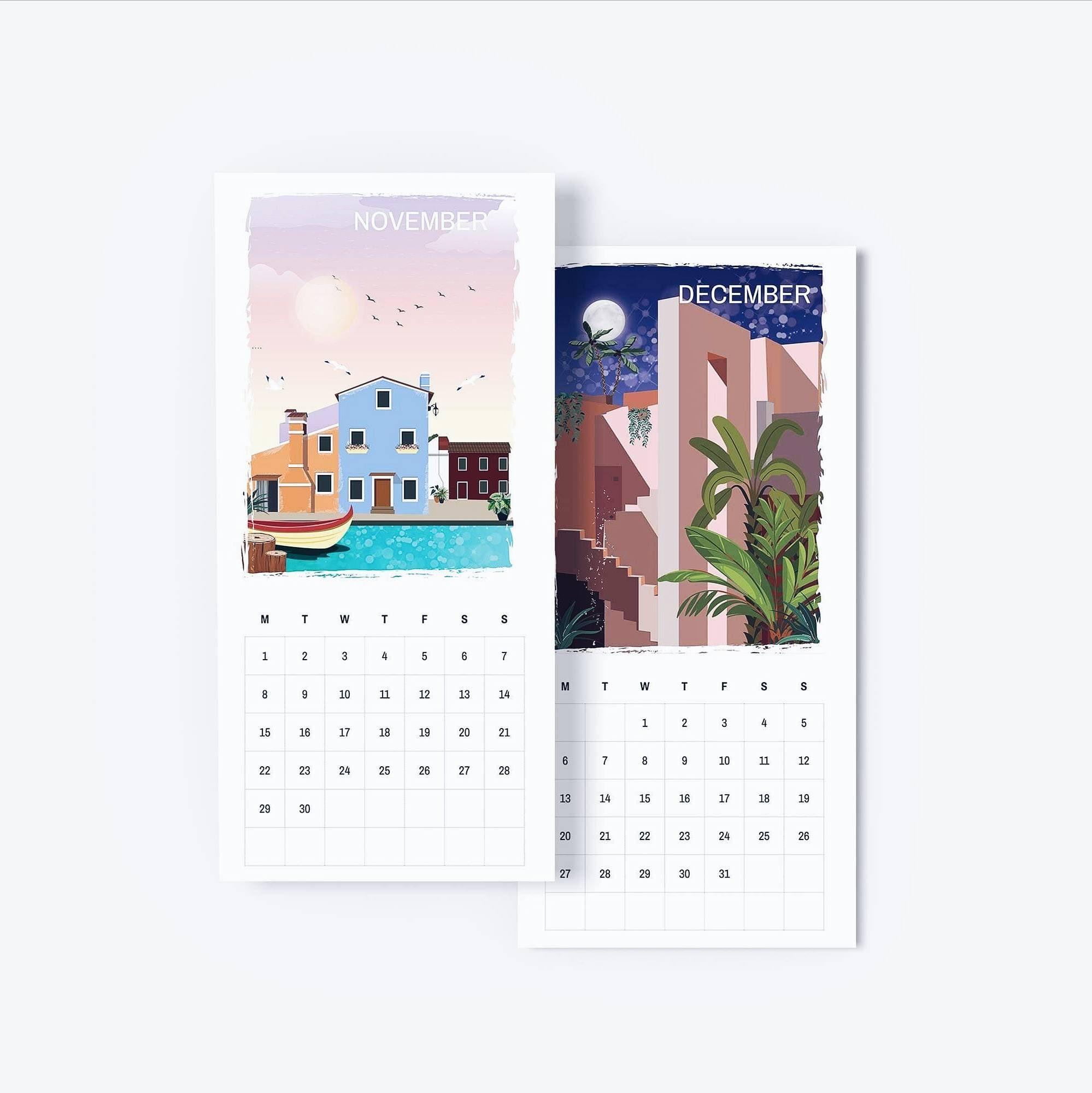 Calendar 2021, Travel, Poster, Poster, Illustration, Print-2021 Calendar For Vacation