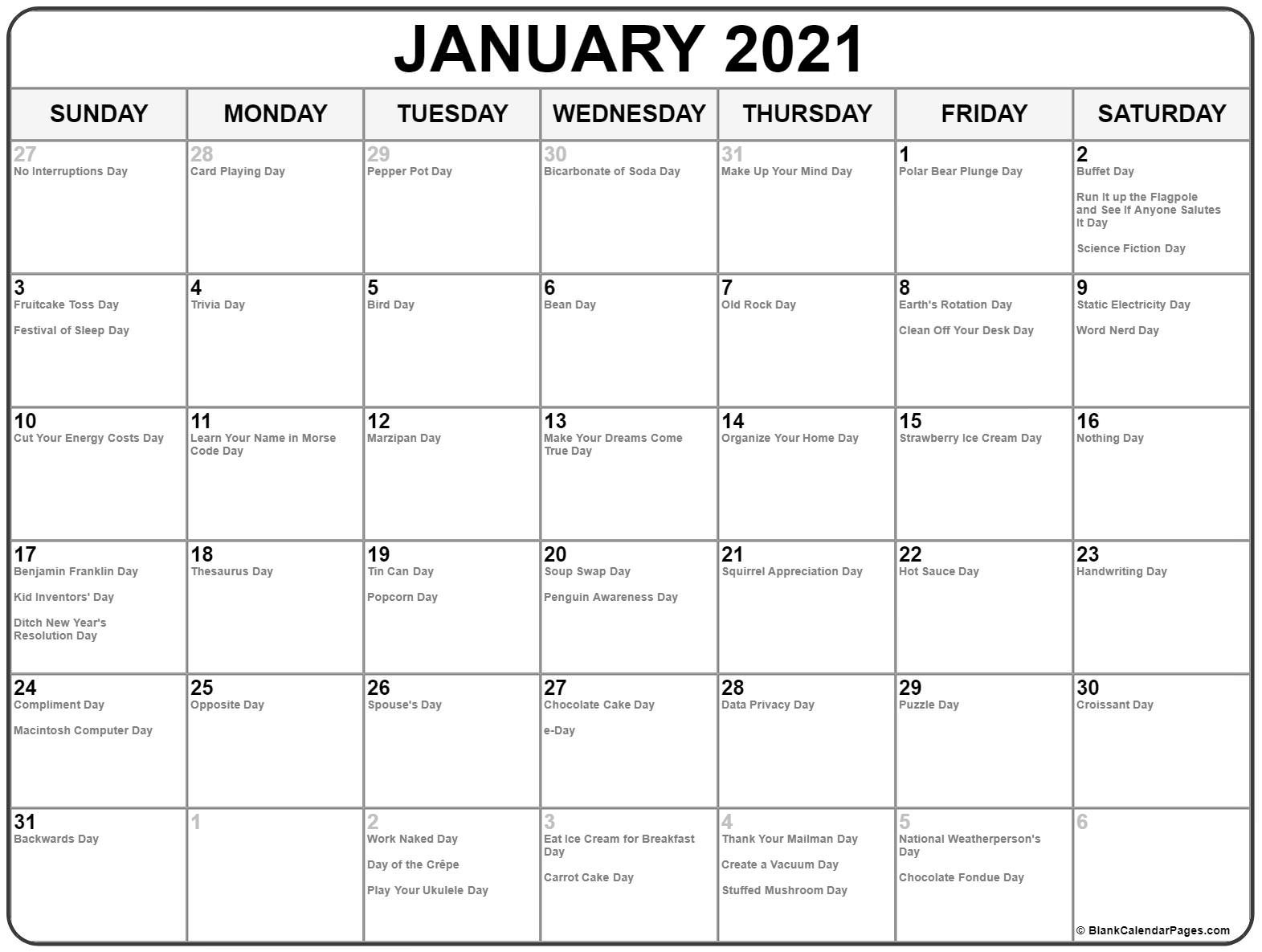Collection Of January 2021 Calendars With Holidays-National Wellness Calendar 2021