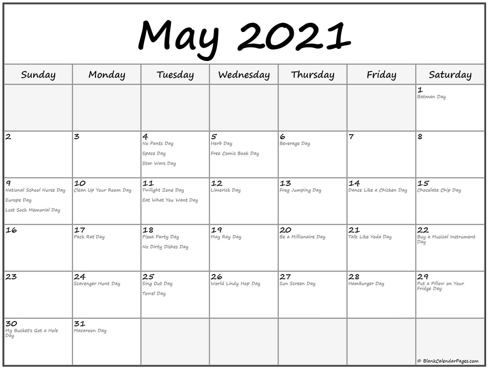Collection Of May 2021 Calendars With Holidays-National Wellness Calendar 2021