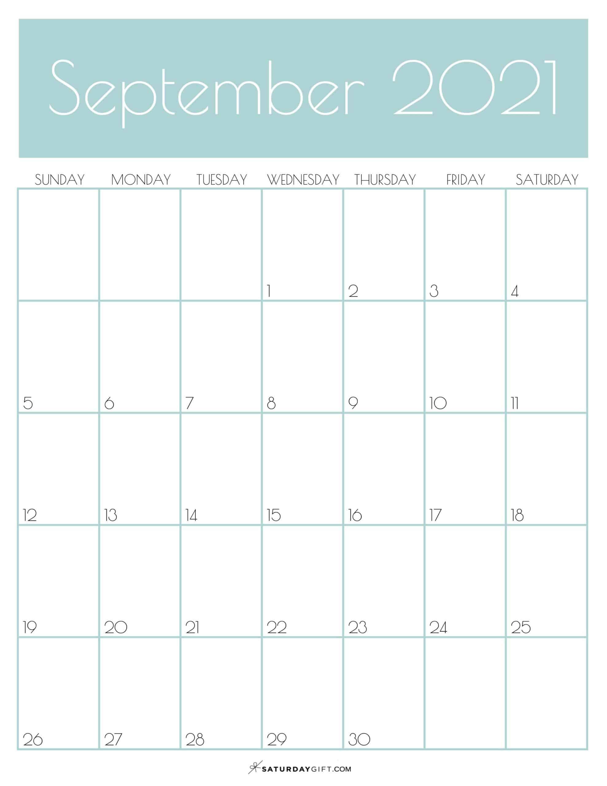 Cute (& Free!) Printable September 2021 Calendar-Calendar 2021 Sat Thru Sunday