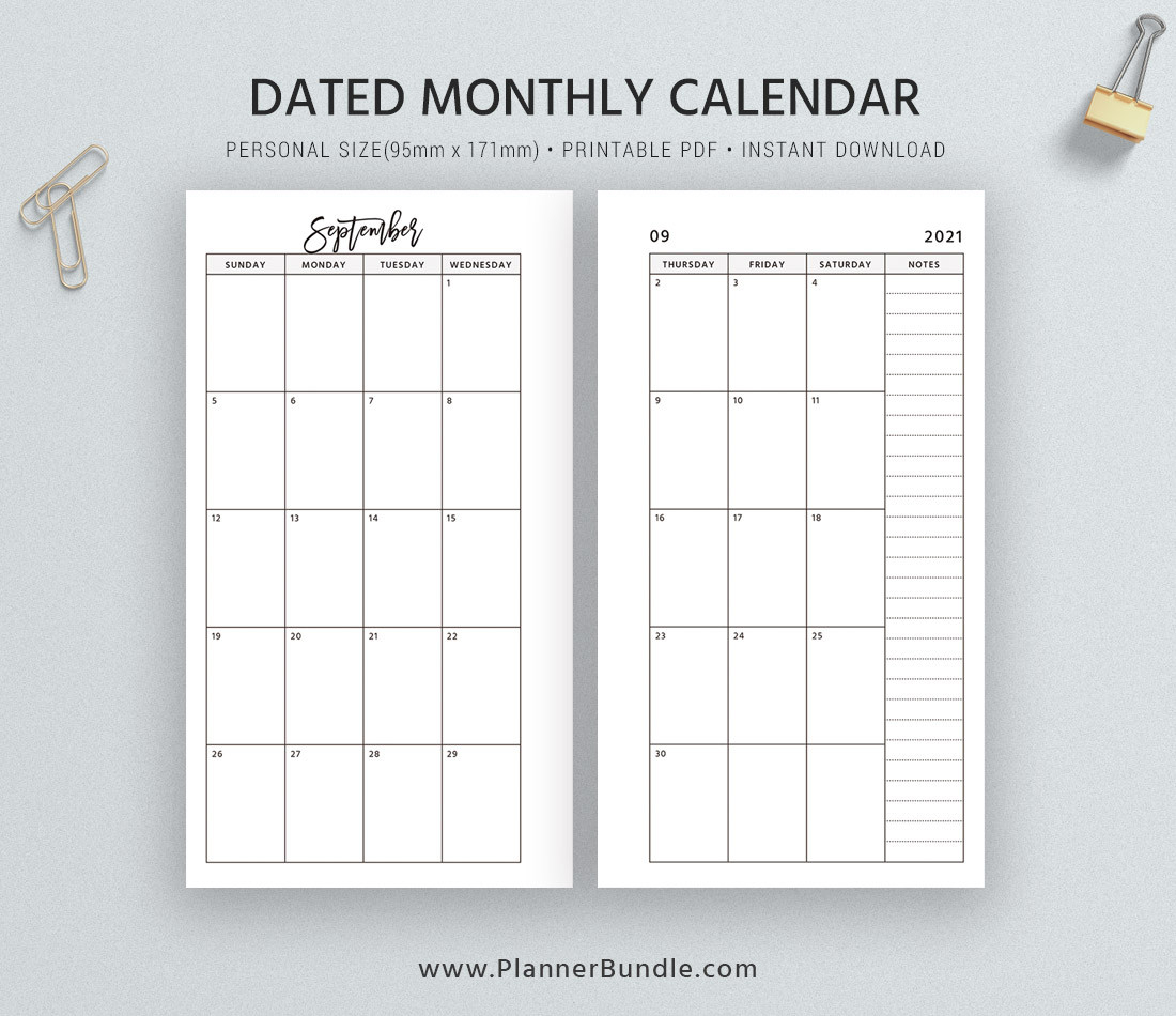 Dated Monthly Calendar 2021, Printable Monthly Planner-2 Page Calendar 2021