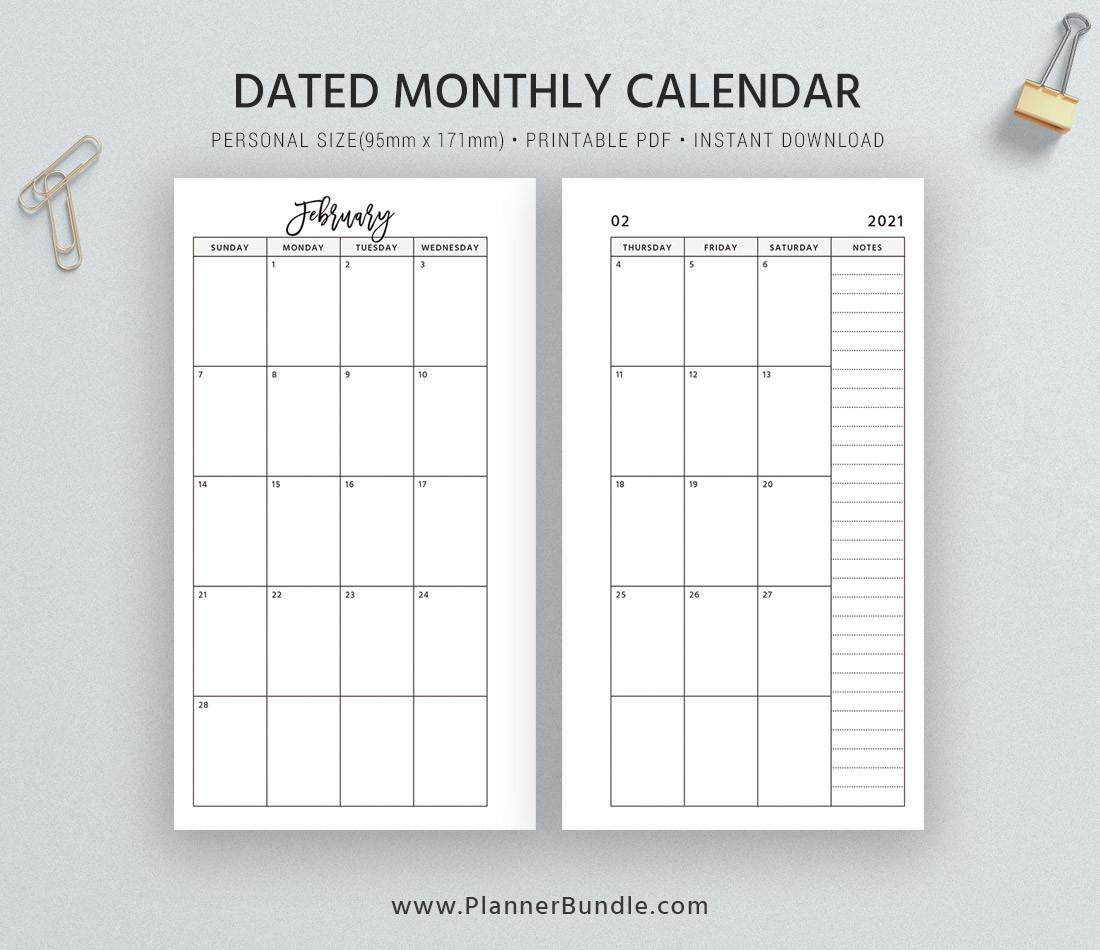Dated Monthly Calendar 2021, Printable Monthly Planner-2021 Monthly Calendar 2 Page Per Month Printable