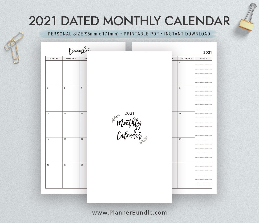 Dated Monthly Calendar 2021, Printable Monthly Planner-2021 Printable 2 Page Monthly Calendar