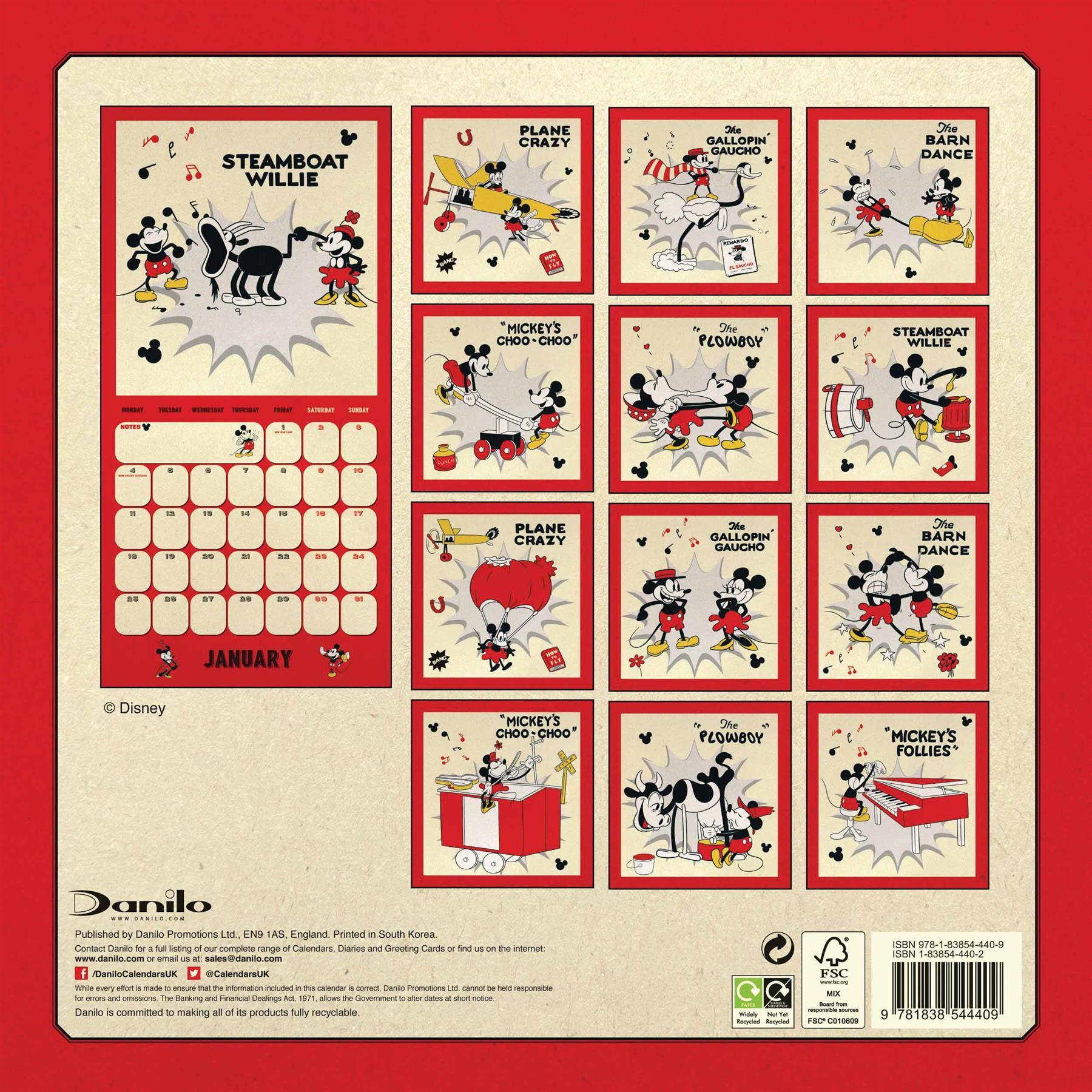 Disney Mickey Mouse Classic 2021 Calendar Official Square-Free Mickey Muse Calendars 2021