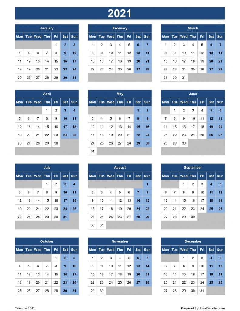 Download 2021 Yearly Calendar (Mon Start) Excel Template-Excel Calendar Template 2021