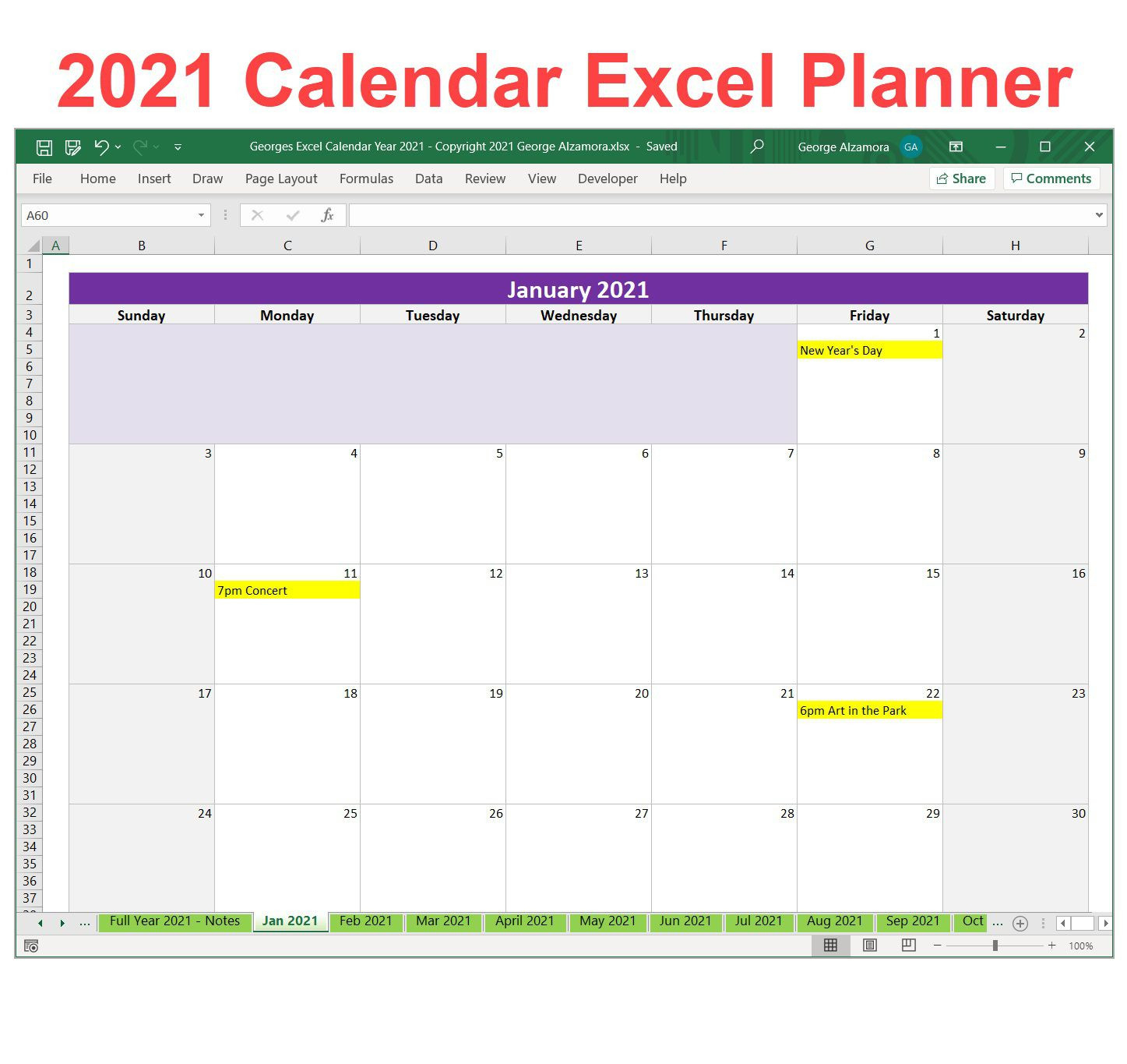 Excel 2021 Calendar Insight Template ~ Addictionary-Excel Calendar Template 2021