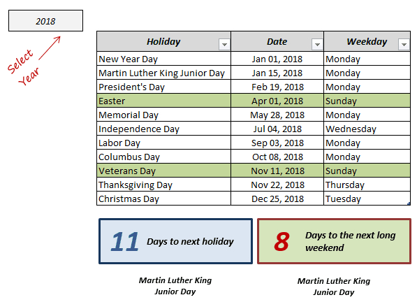 Excel Holiday Calendar Template 2021 And Beyond (Free-2021 Office Vacation Calendar Examples