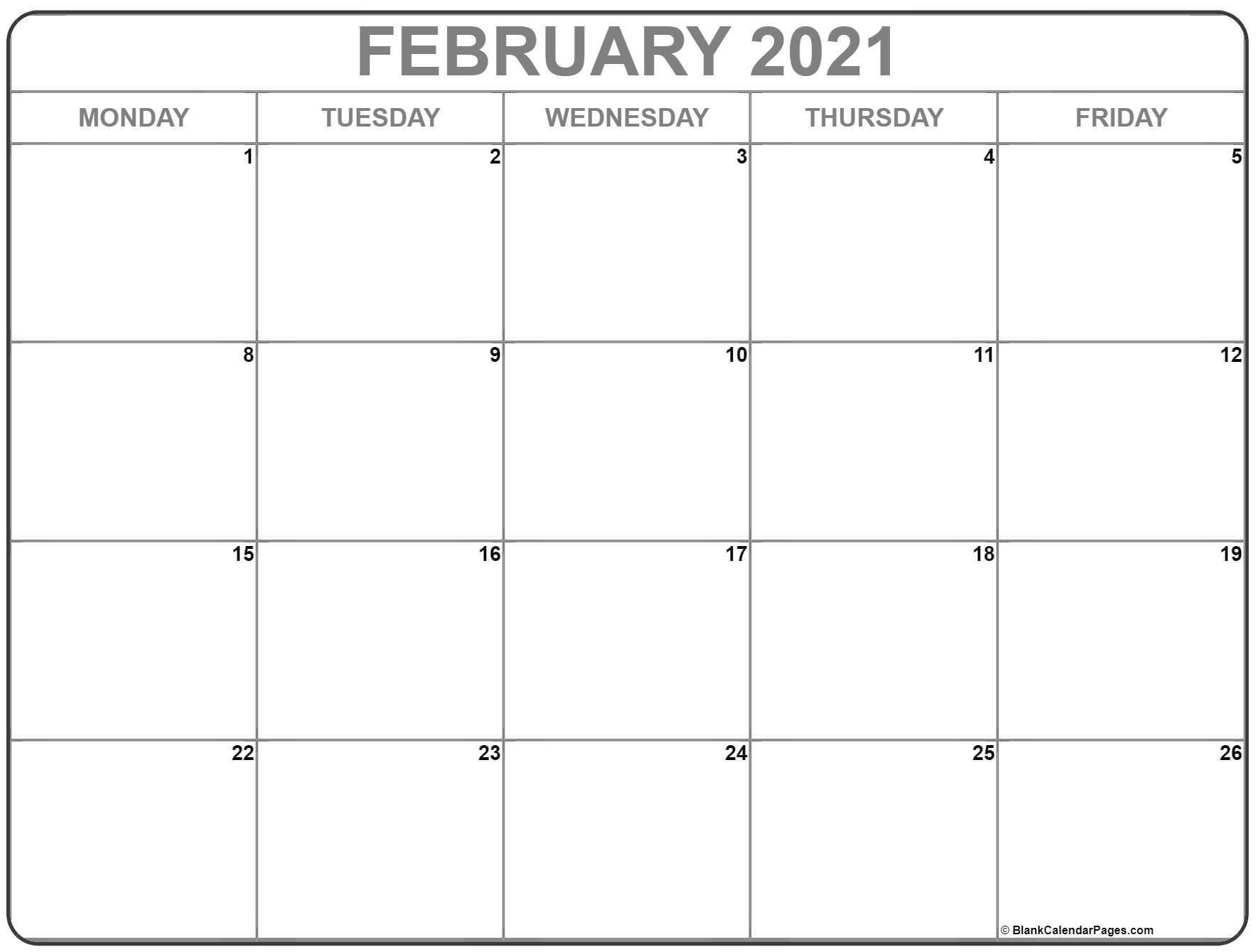 February 2021 Monday Calendar | Monday To Sunday-Printable Monday - Friday July 2021