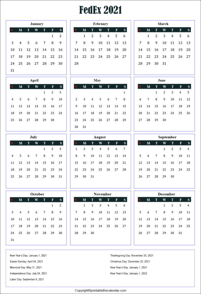 Fedex Holidays 2021 | Printable The Calendar-2021 Employee Vacation Schedule
