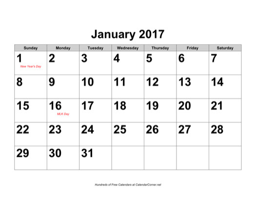Free 2017 Large-Number Calendar With Holidays, Landscape-Free Large Number Printable Calendars