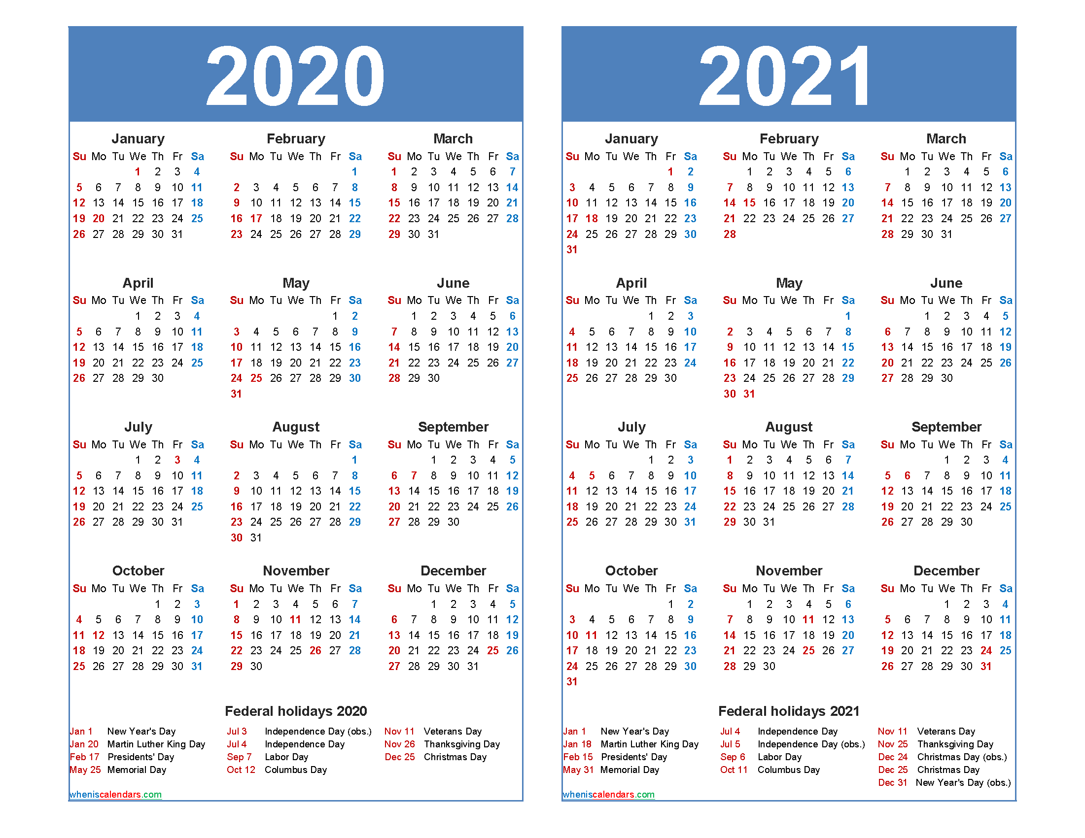 Free 2020 2021 Calendar Printable With Holidays-2 Page Printable Yearly Calendar Template 2021