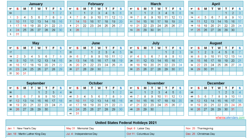 Free 2021 Printable Calendar With Holidays-2 Page Printable Yearly Calendar Template 2021