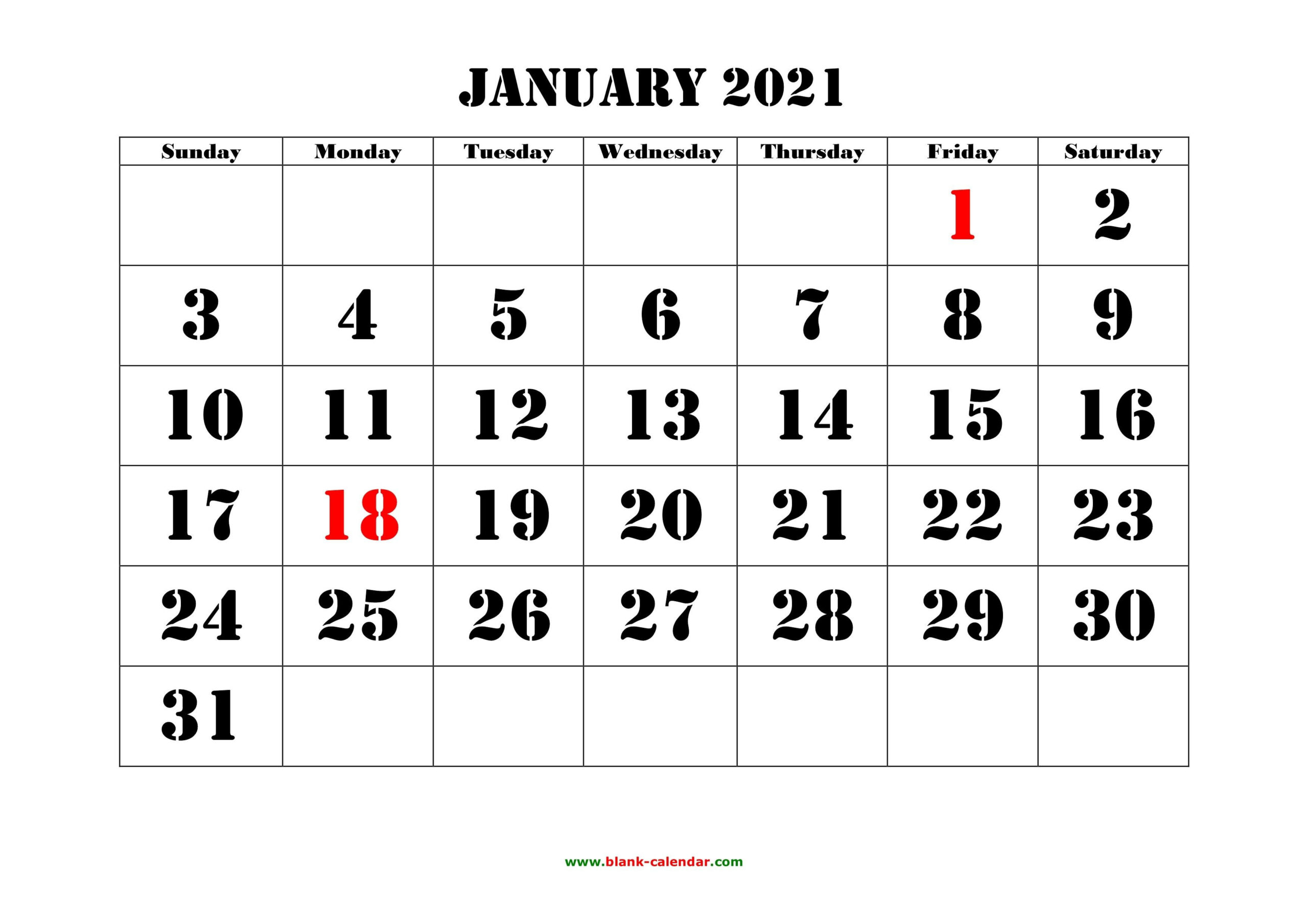 Free 2021 Yearly Calender Template / 12 Month Colorful-2021 Free 12 Month Printable Monthly Calendar