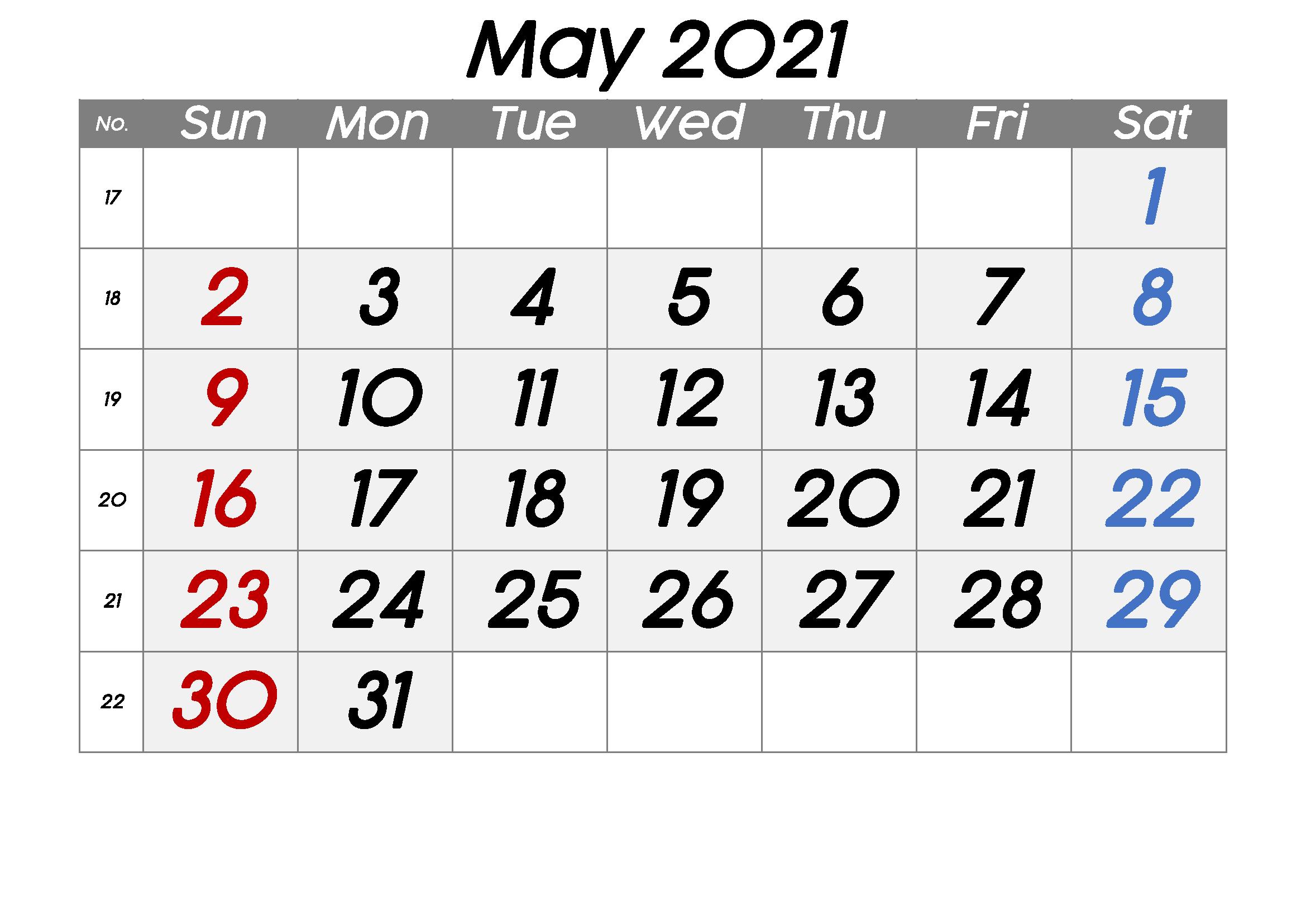 Free Blank May 2021 Printable Calendar Template [Pdf-2021 Absentee Calendar