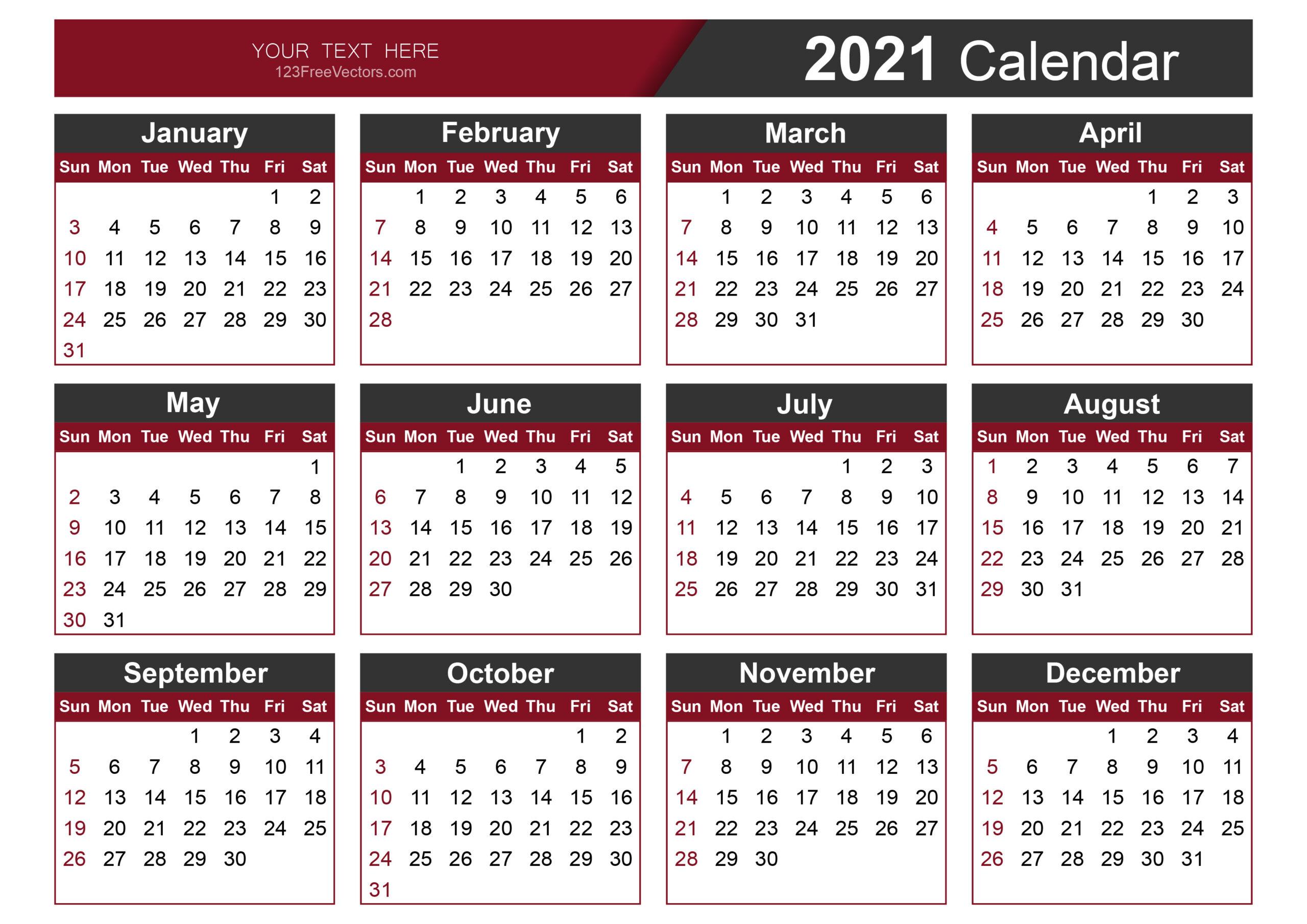 Free Calendar Template 2021-Calendar Template 2021 Printable Free