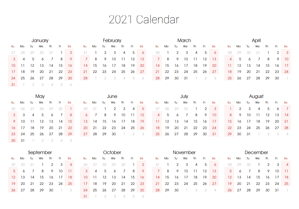 Free Editable 2021 Calendar Printable Template-Calendar Template 2021 Printable Free