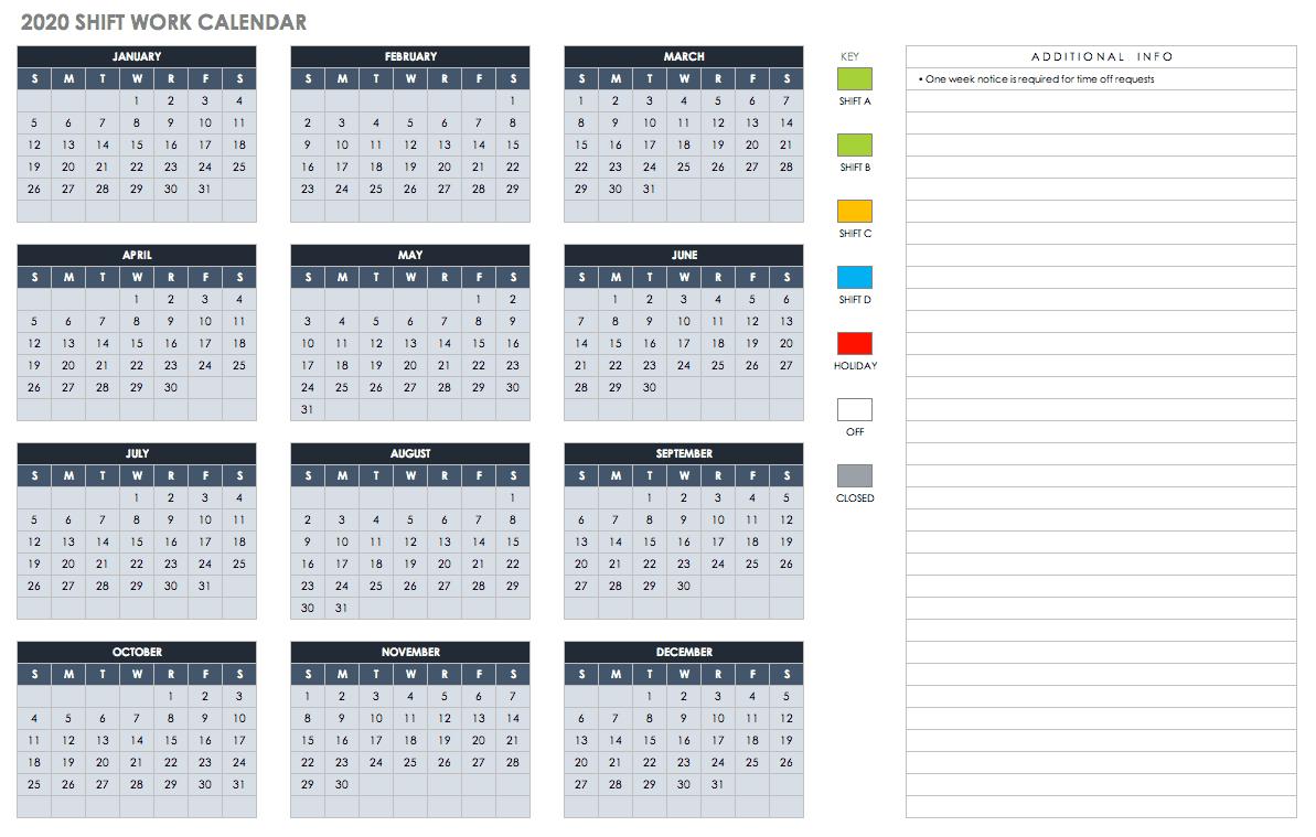 Free Excel Calendar Templates-Shift Schedule Template 2021