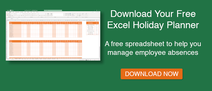 Free Excel Holiday Planner Template | E-Days-2021 Employee Vacation Schedule