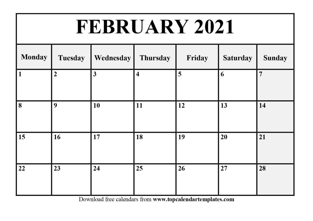 Free February 2021 Calendar Printable (Pdf, Word)-Printable Calendar 2021 For Monthly Bills