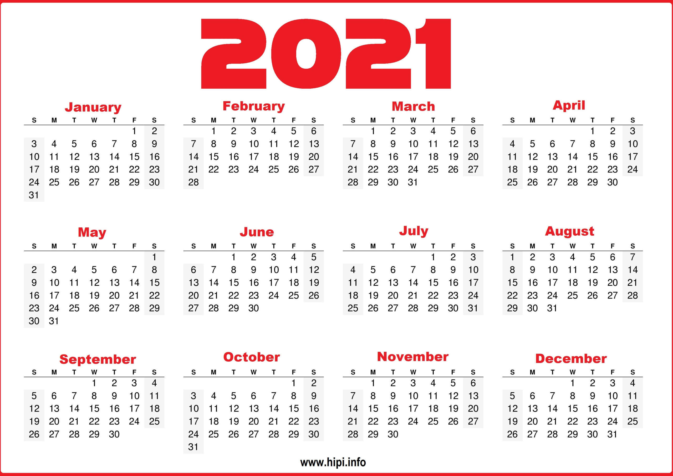 Free Printable 12 Month 2021 Calendar With Lines-2 Page Calendar 2021