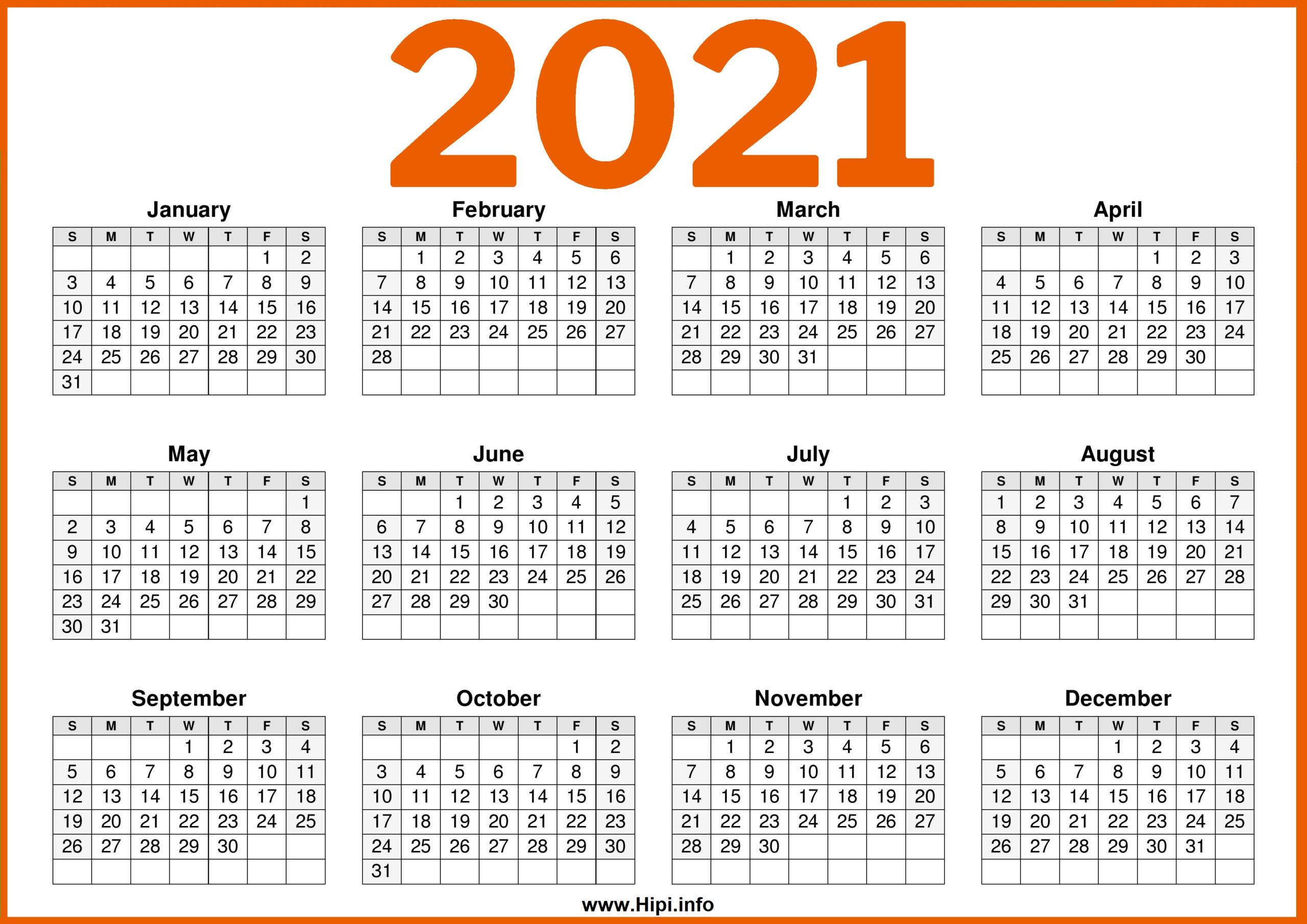 Free Printable 12 Month Calendar 2021   Printable-2021 Free 12 Month Printable Monthly Calendar