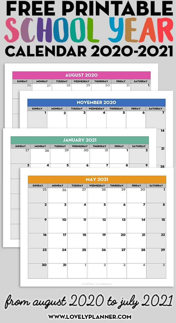 Free Printable 2020-2021 Monthly School Calendar Template-2021 Printable 2 Page Monthly Calendar