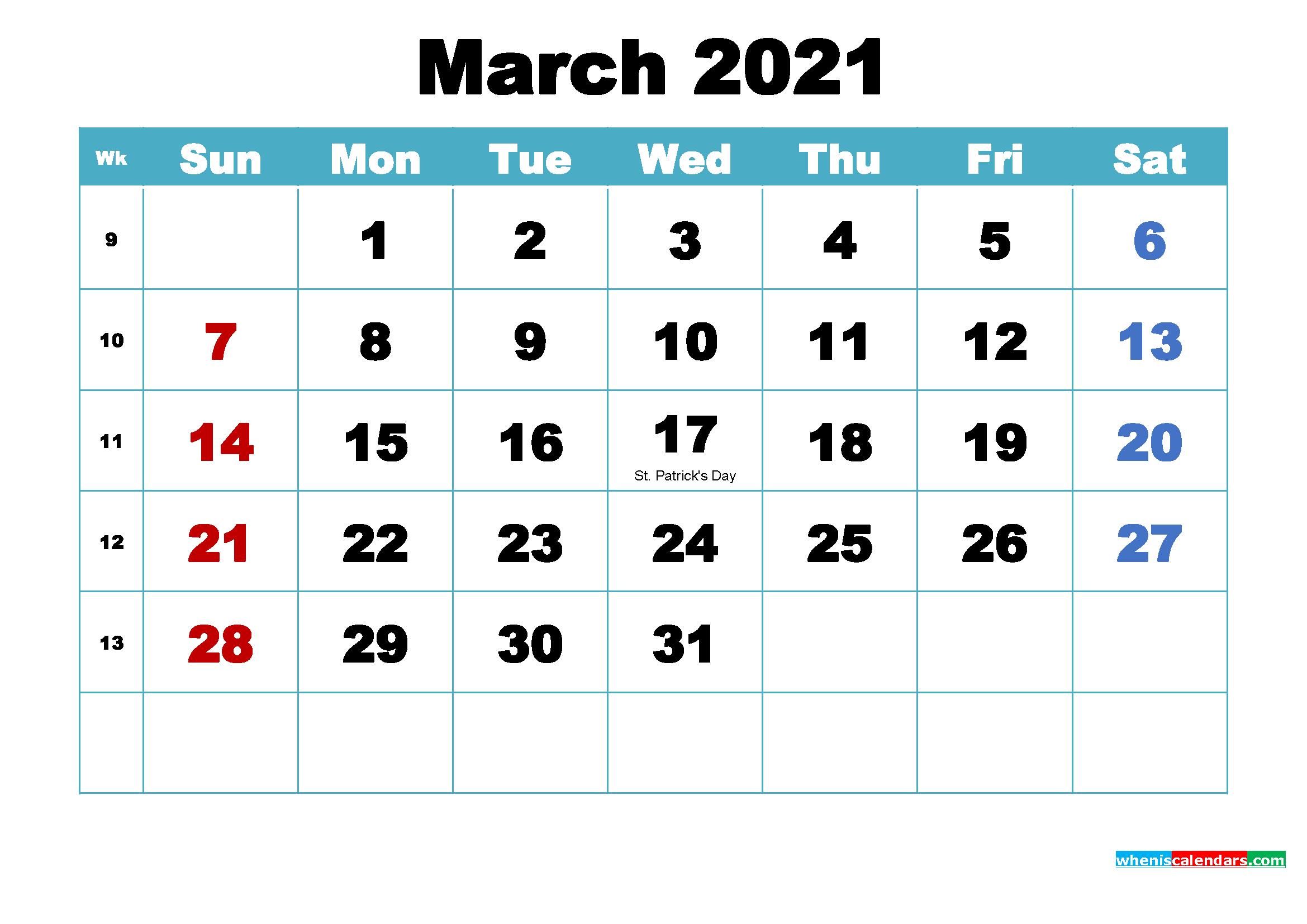Free Printable 2021 Calendar March As Word, Pdf - Free-2021 Calendar Printable Free Pdf March
