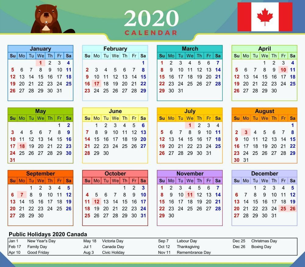 Free Printable 2021 Calendar With Canadian Holidays | 2021-2021 Employee Vacation Schedule
