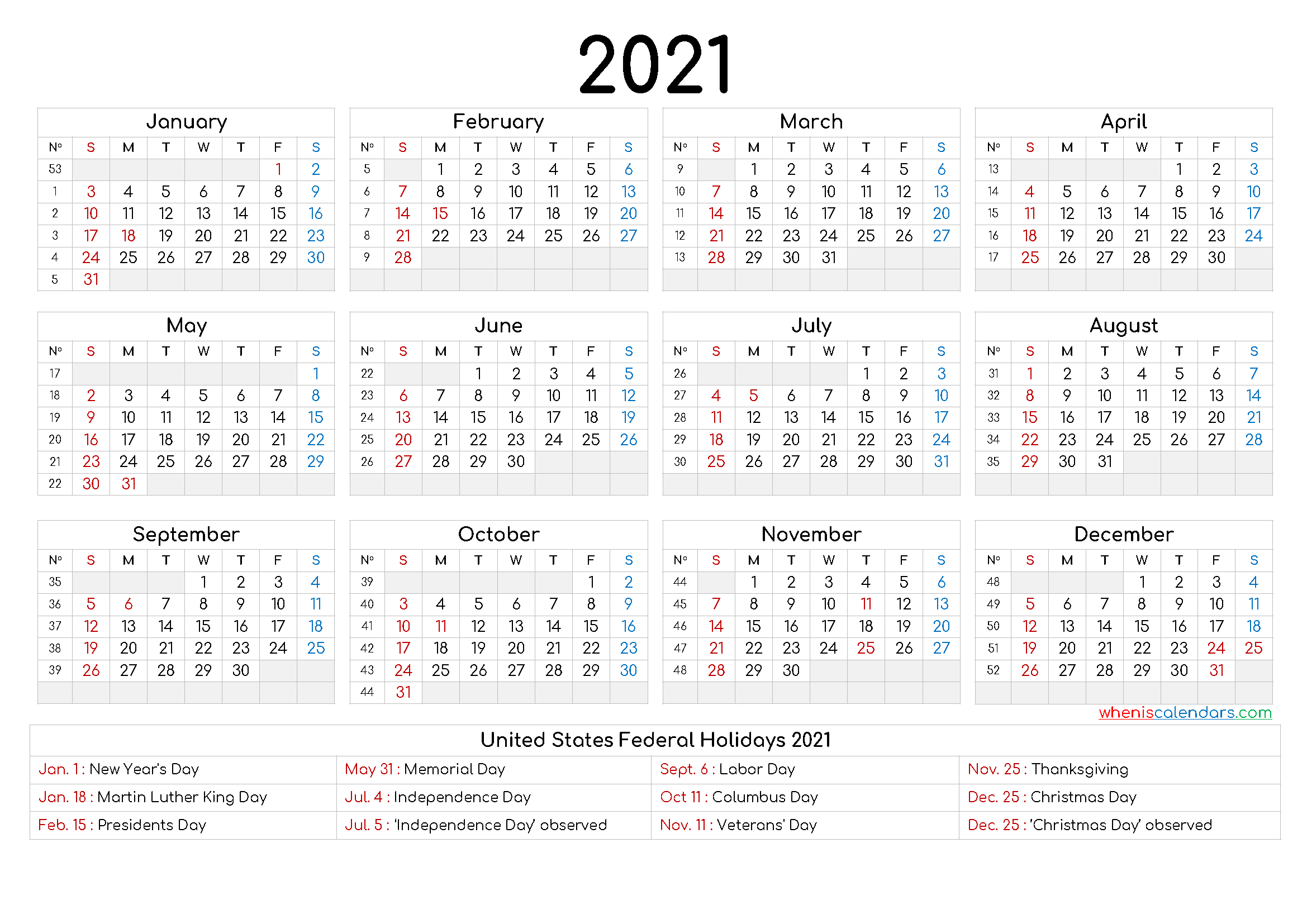 Free Printable 2021 Calendar With Holidays - 6 Templates-4 X 6 Calendars 2021