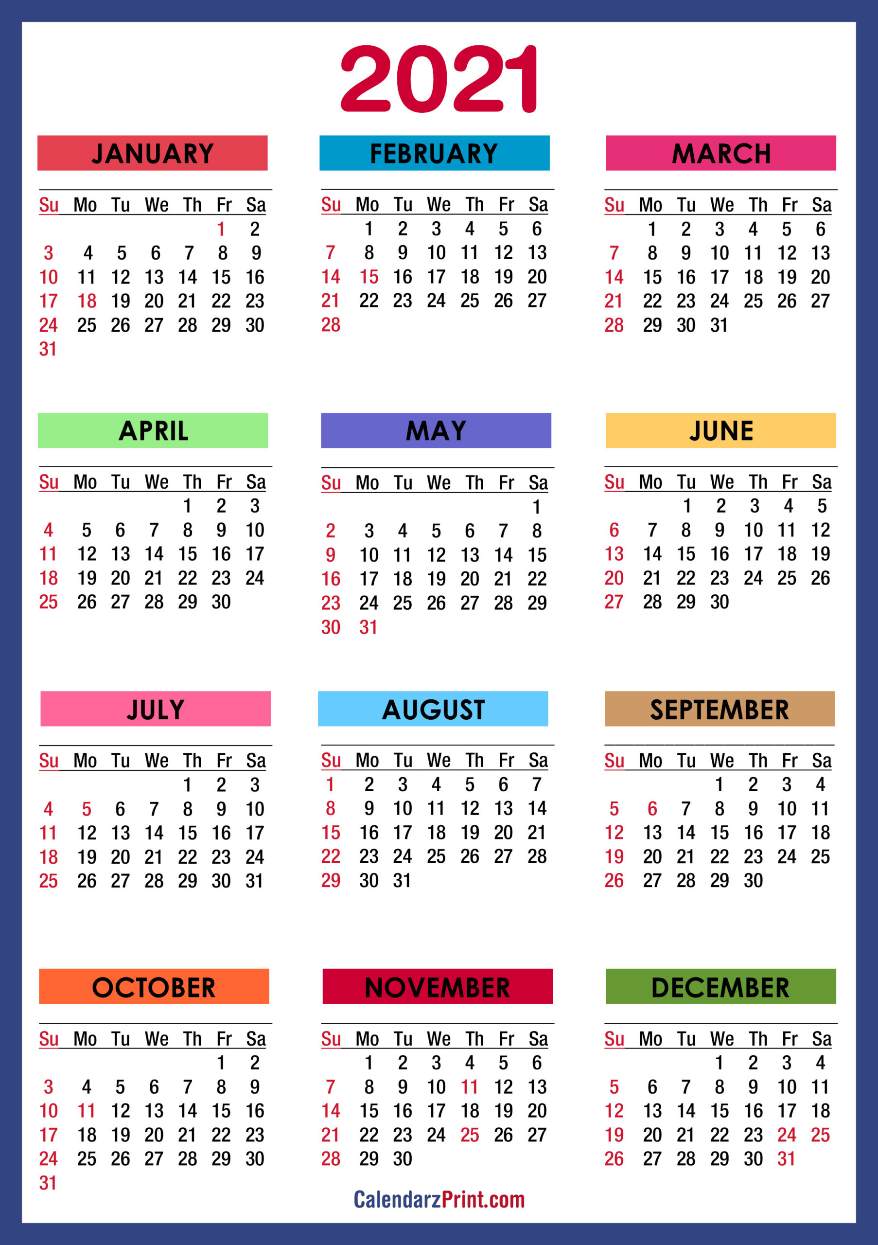 Free Printable 2021 Monthly Calendar With Us Holidays-2021 Calendars To Fill In And Print