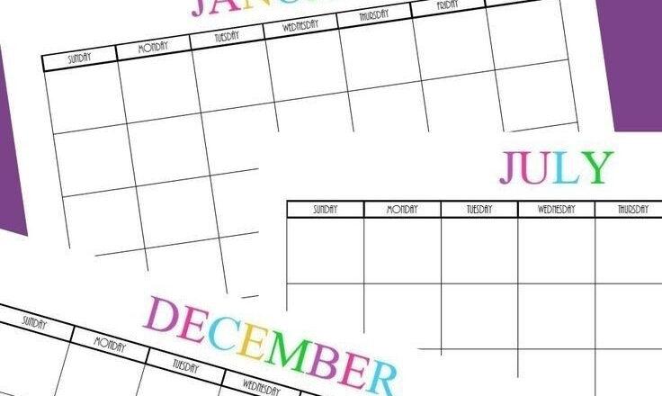 Free Printable Blank Monthly Calendars - 2018, 2019, 2020-July 2021 Calendar For Bills