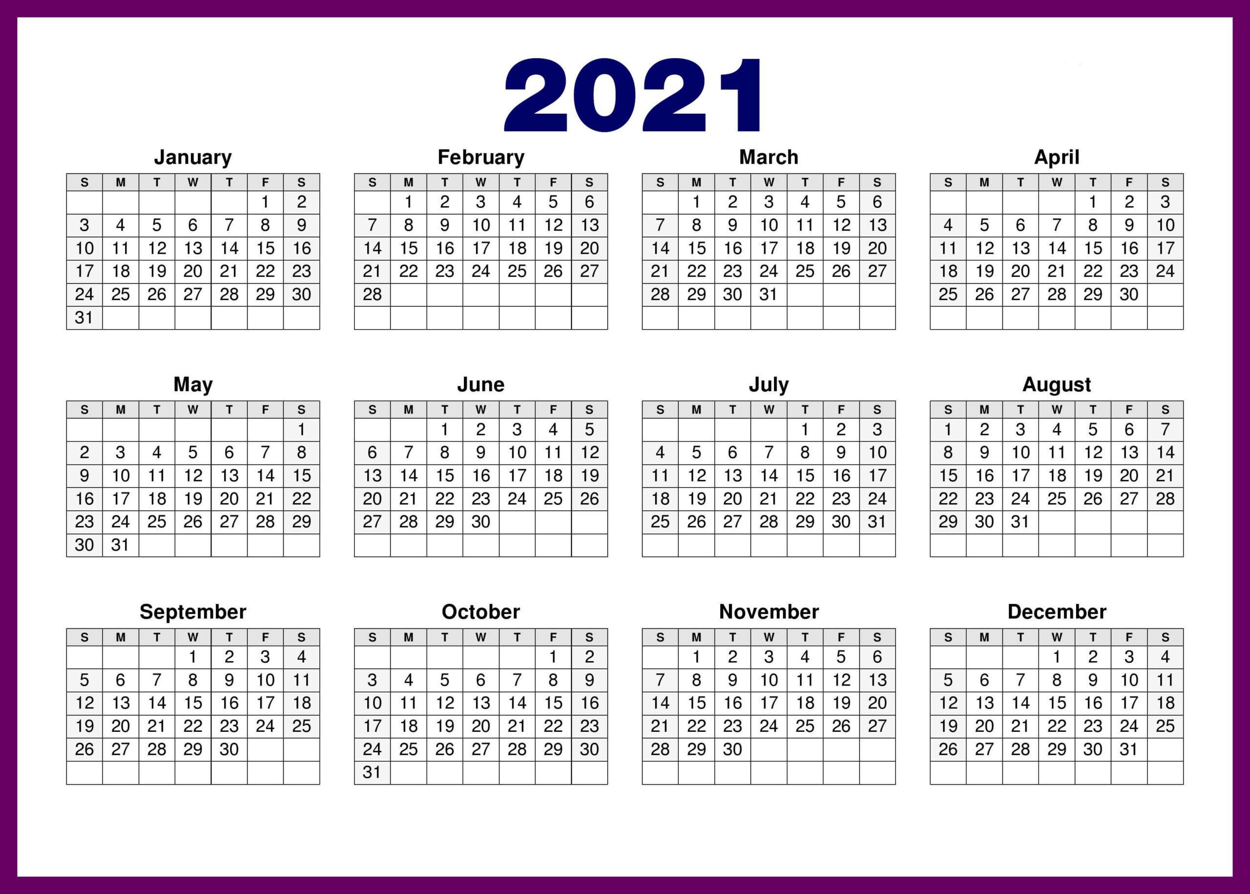 Free Printable Calendar 2021 In Pdf Word Excel Template-Free Printable Downloadable Yearly Calendar 2021