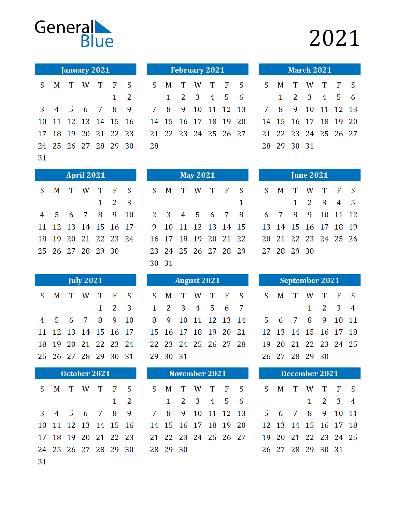 Free Printable Calendar In Pdf, Word And Excel-Free Printable Downloadable Yearly Calendar 2021