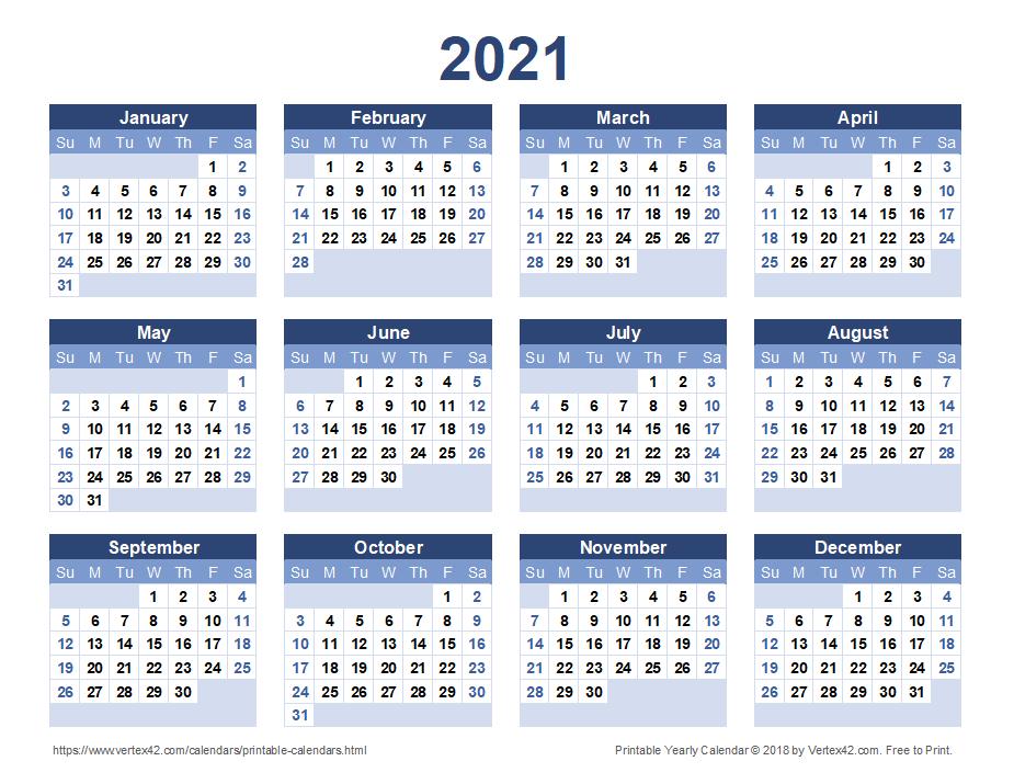 Free Printable Calendar - Printable Monthly Calendars-Free Printable Downloadable Yearly Calendar 2021