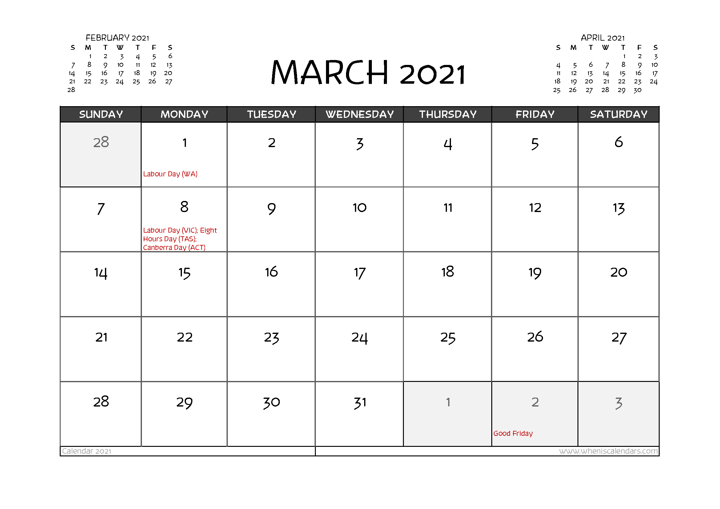 Free Printable March 2021 Calendar Australia-2021 Calendar Printable Free Pdf March