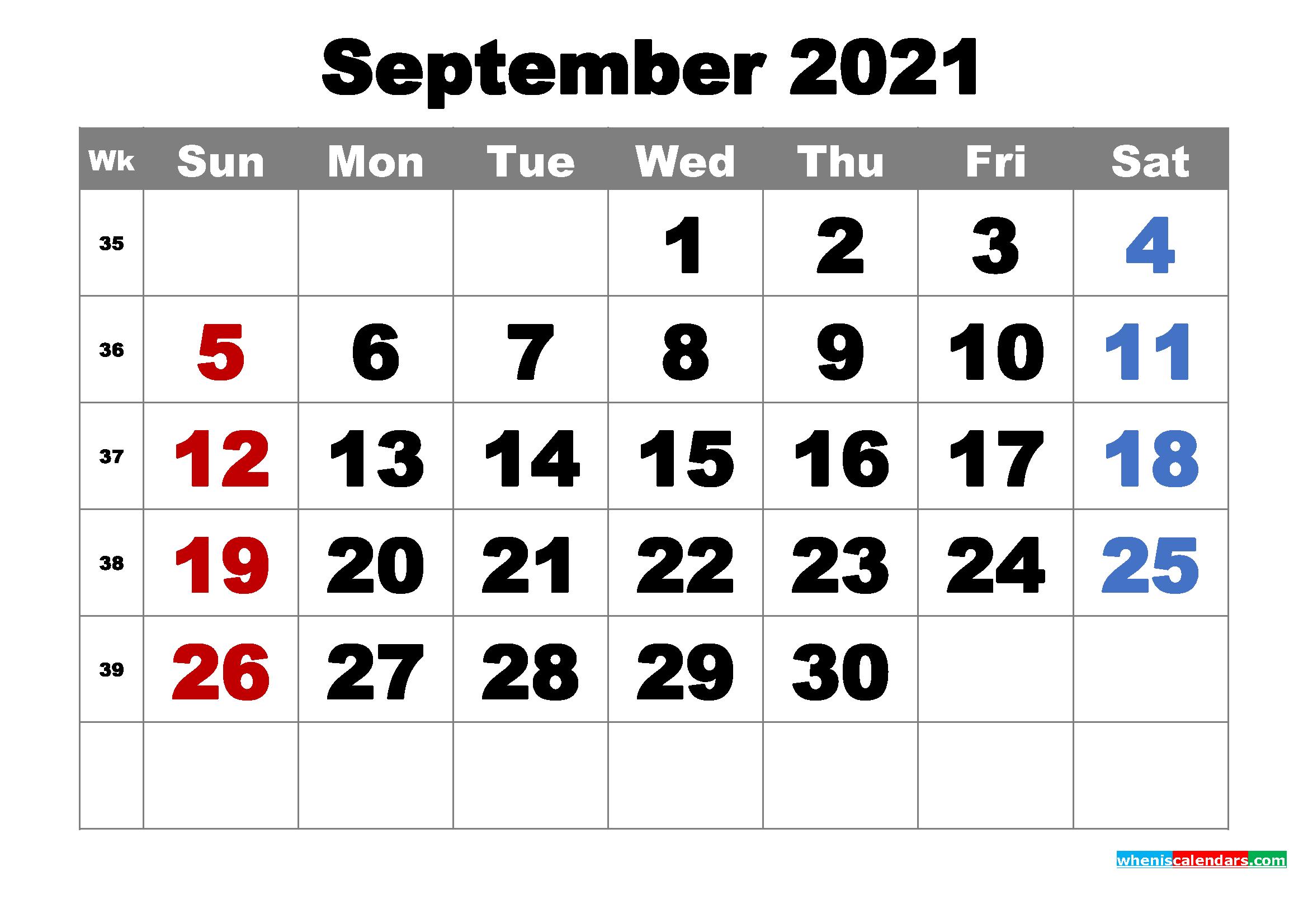 Free Printable September 2021 Calendar Word, Pdf, Image-2021 Absentee Calendar