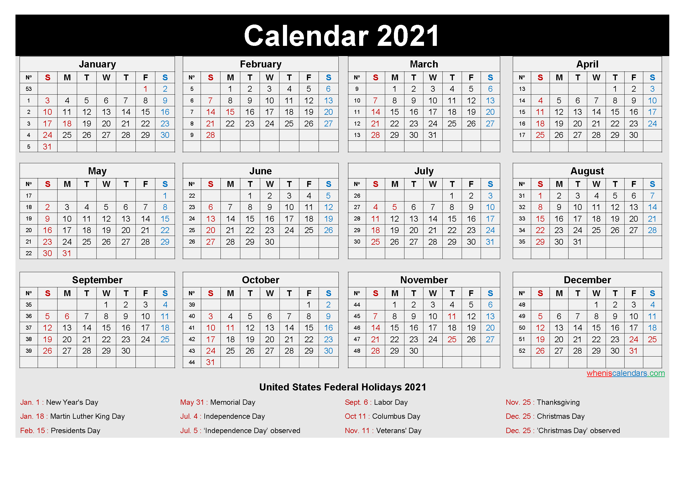 Free Printable Yearly 2021 Calendar With Holidays As Word, Pdf-Free Printable Downloadable Yearly Calendar 2021