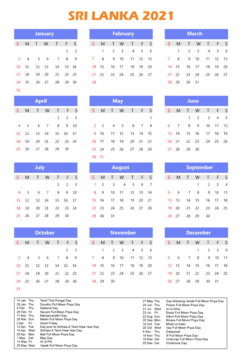 Free Sri Lanka Calendar 2021 With Holidays In Pdf-Mercantil Holidays For 2021 Sri Lanka