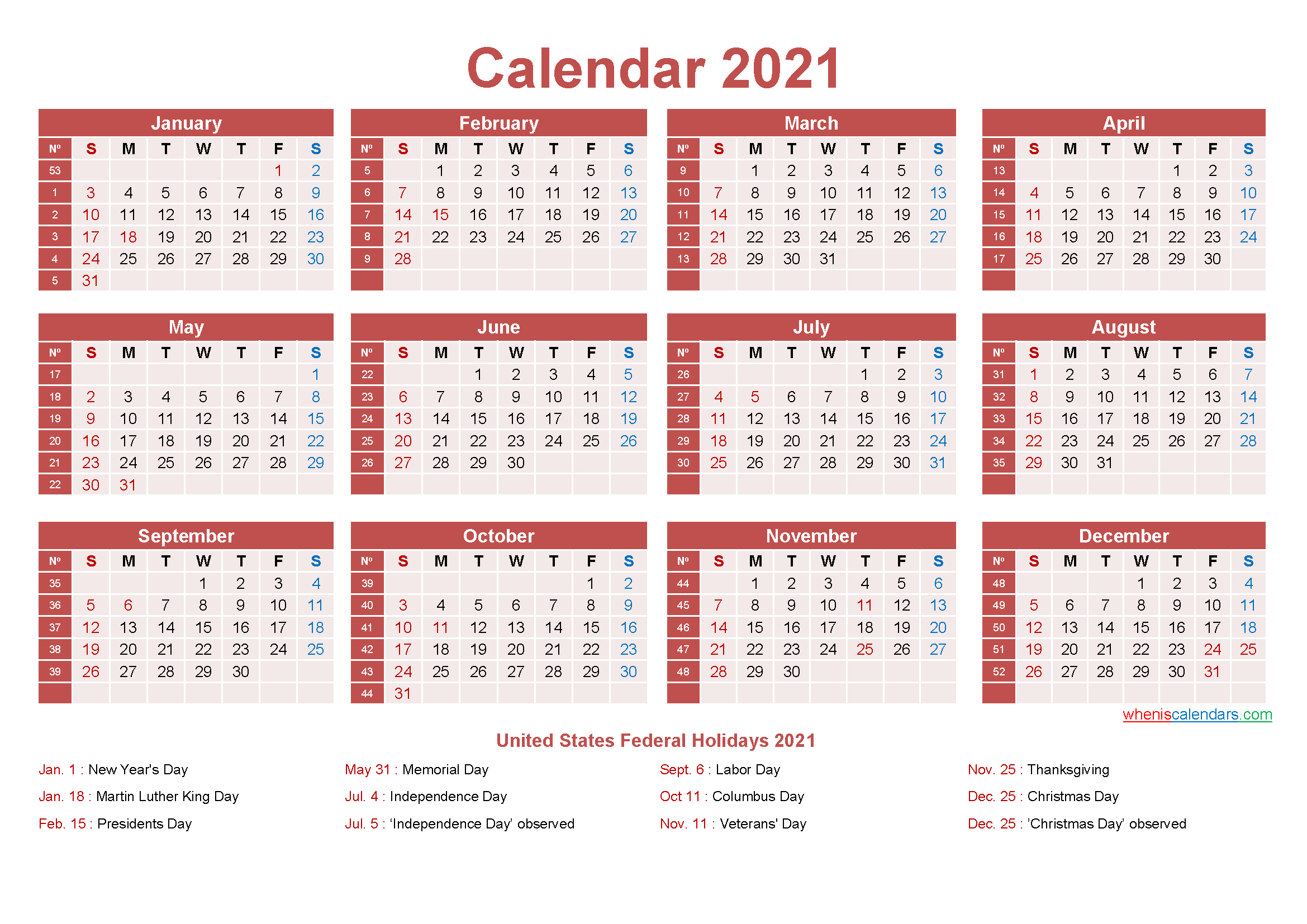 Free Yearly 2021 Calendar With Holidays Word, Pdf-2021 Monthly Calendar Printable Pdf