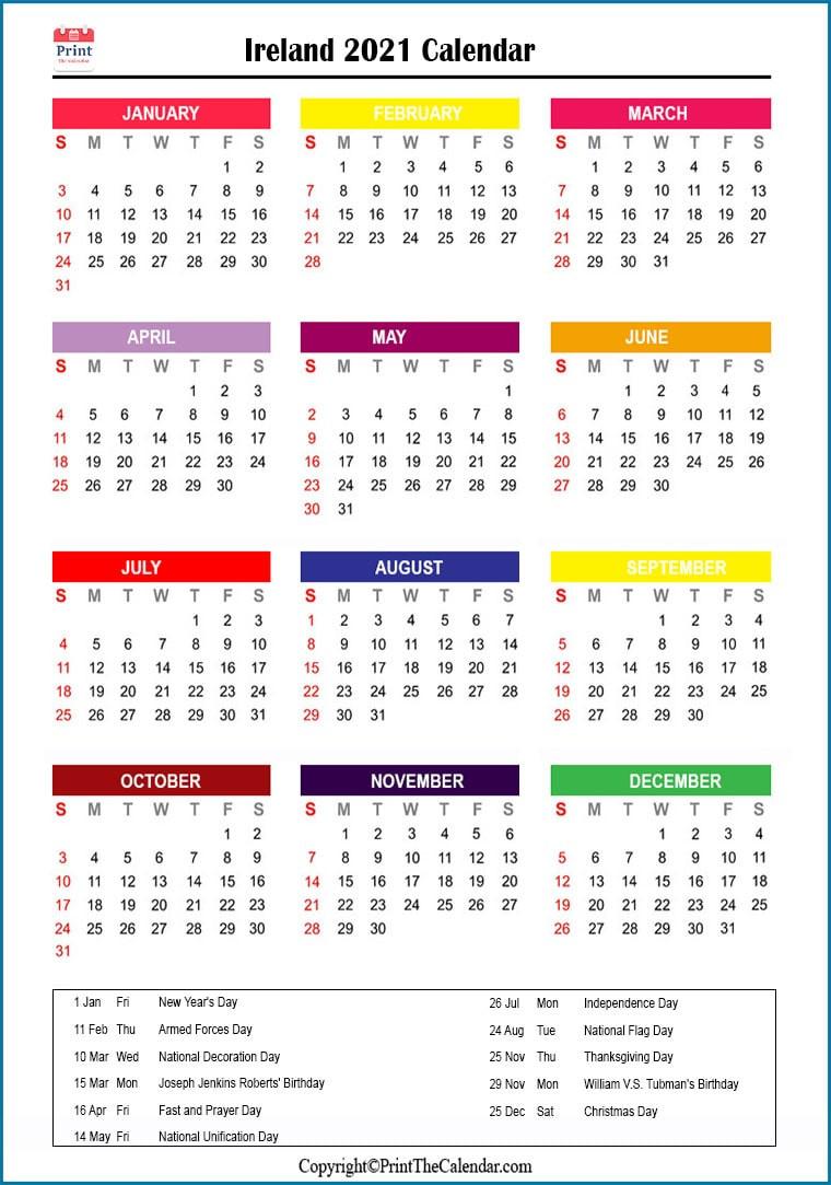 Ireland Holidays 2021 [2021 Calendar With Ireland Holidays]-2021 Vacation Calendars