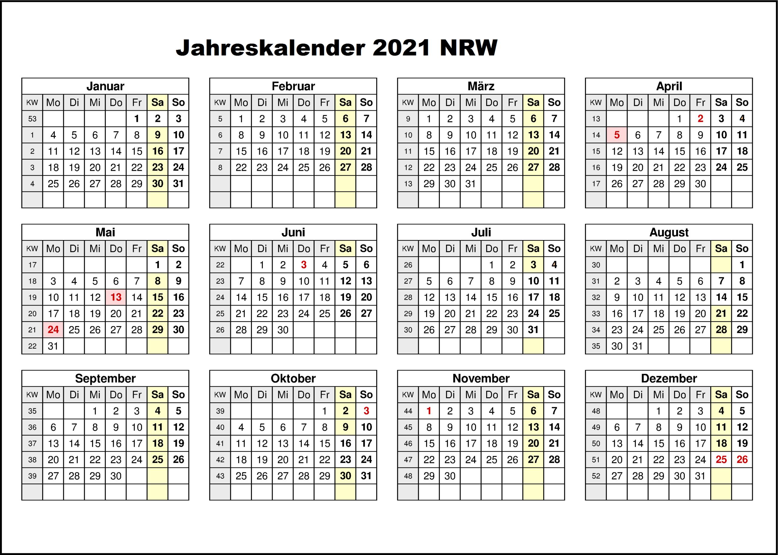 Jahreskalender 2021 Kostenlos : Jahreskalender 2021 Zum-Kalender 2021 Planer Zum Ausdrucken