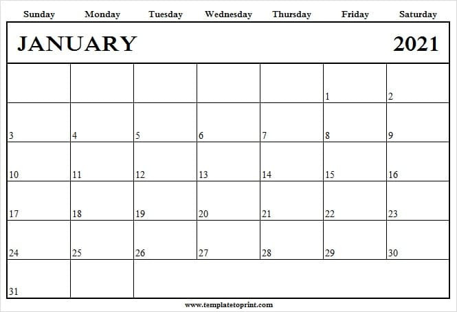 January 2021 Blank Calendar Template To Print - 2021-2021 Calendars To Fill In And Print