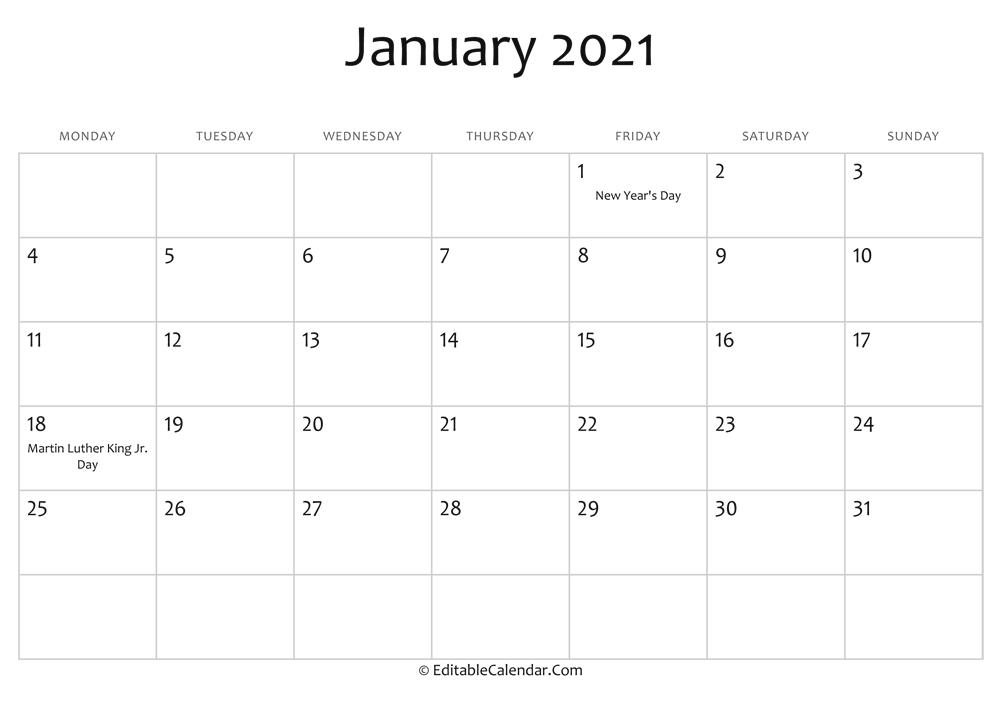January 2021 Calendar Templates-National Food Days 2021 Printable