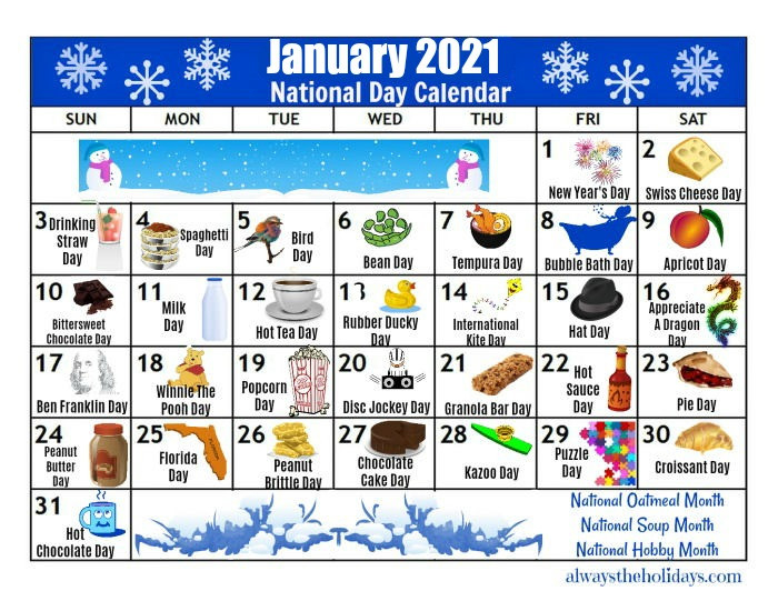 January Printable National Day Calendar 2021 - Free-Day To Day Calendar 2021