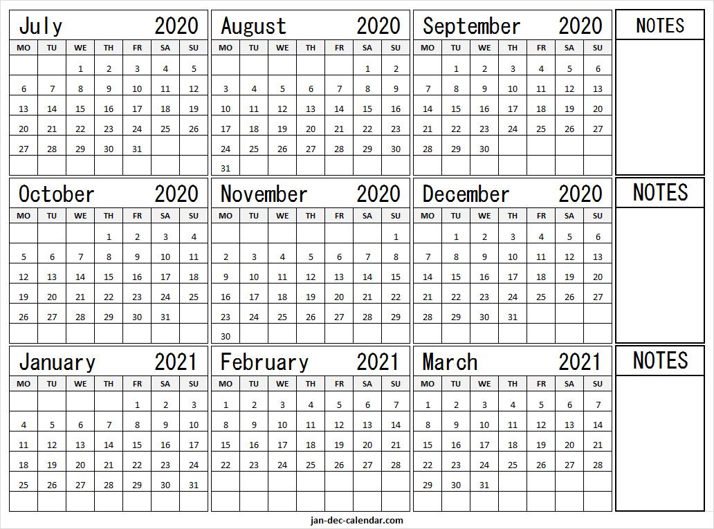 July 2020 To March 2021 Calendar Template   Pinterest, Reddit-2021 81/2 By 11 Attendance Calendar Template