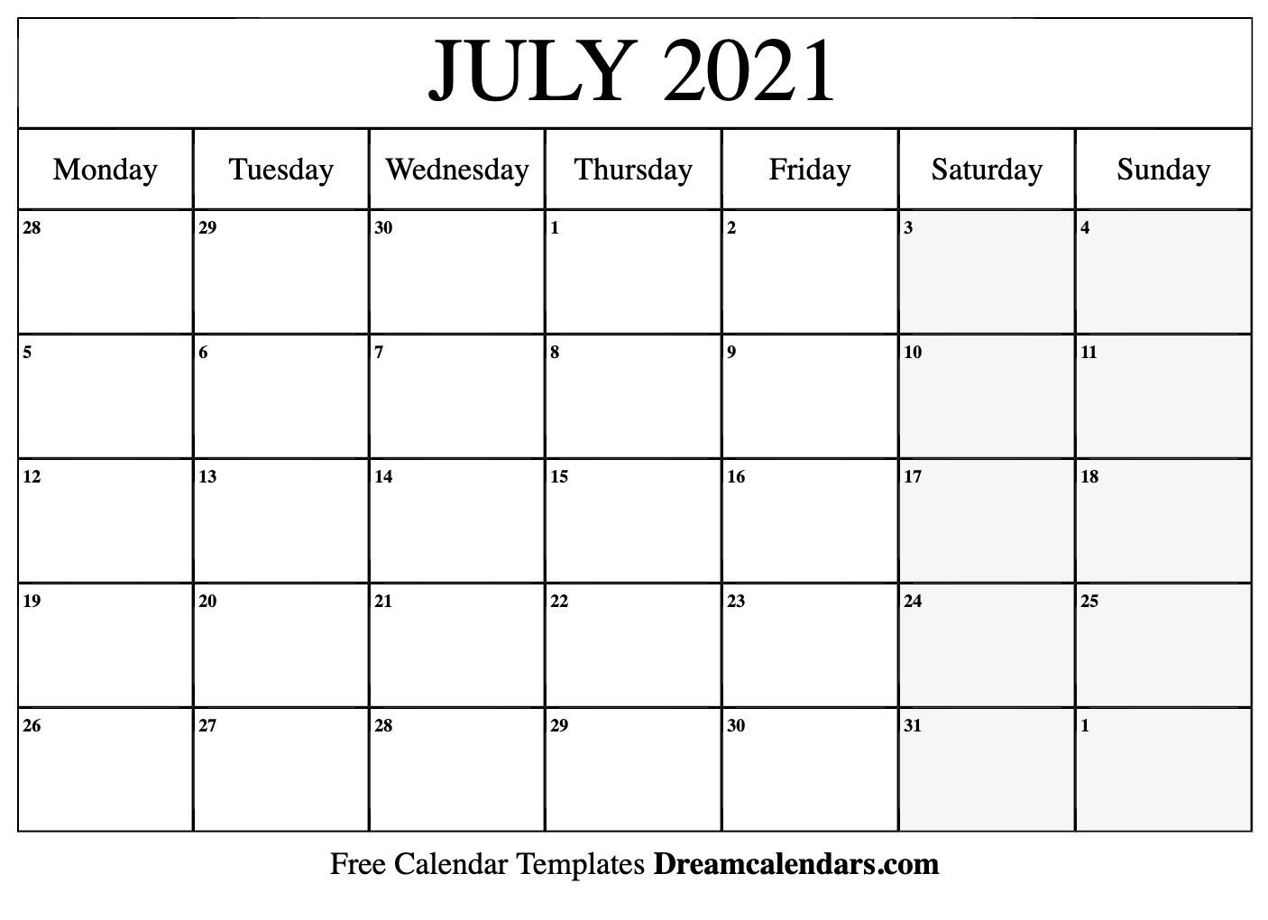 July 2021 Calendar | Free Blank Printable Templates-Printable Monday - Friday July 2021