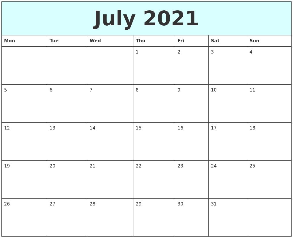 July 2021 Free Calendar-Printable Monday - Friday July 2021