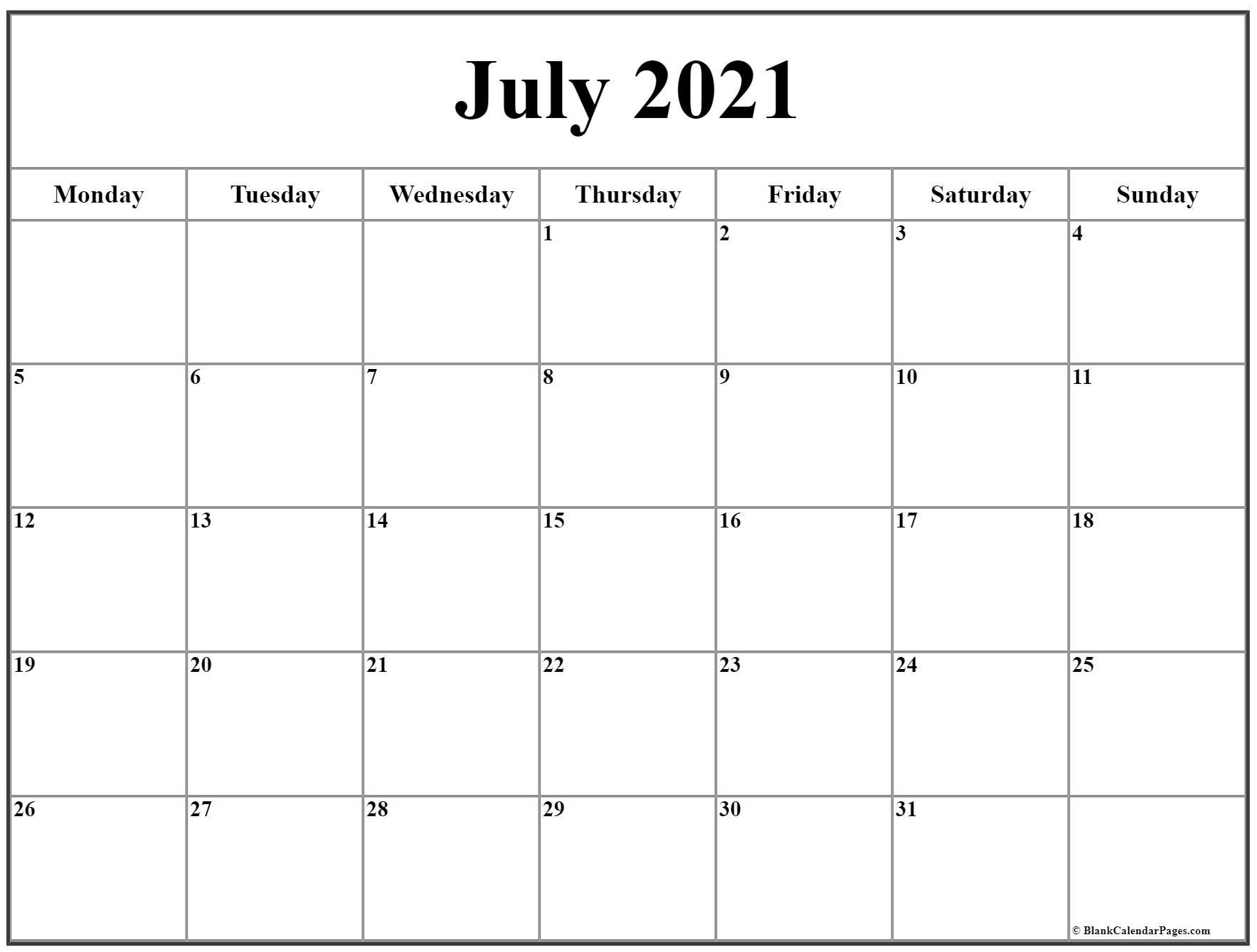 July 2021 Monday Calendar | Monday To Sunday-Printable Monday - Friday July 2021