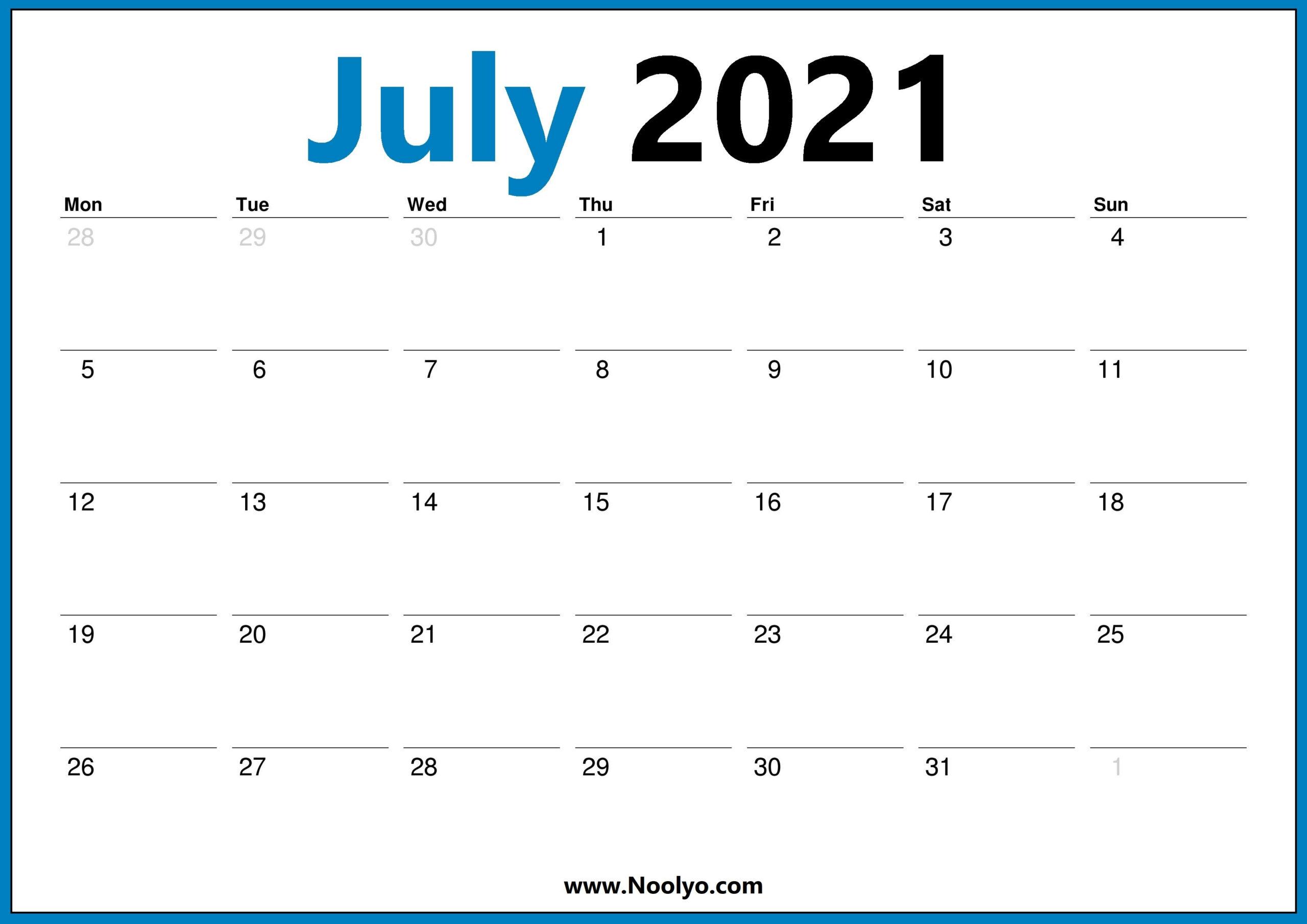 July 2021 Monday Start Calendar Printable Free Download-Printable Monday - Friday July 2021
